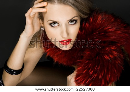 fashionable woman with red fur