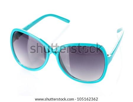 Fashionable women's blue sunglasses isolated on white - stock photo