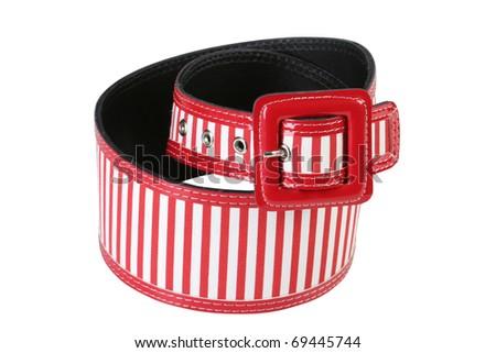 Fashionable women's red belt - stock photo