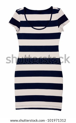 Fashionable women's striped dress isolated on white background - stock photo