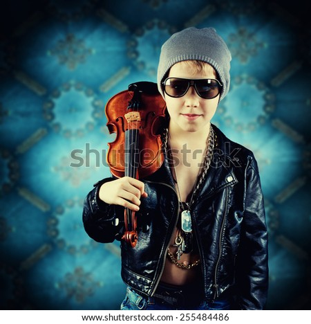 fashionable Young Boy with his violin - stock photo