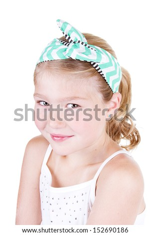 Fashionable young girl wearing vintage fabric headband, isolated on white  - stock photo