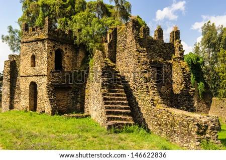 Fasil Ghebbi, Gondar Region. Ethiopia, Africa.  UNESCO World Heritage Site since 1979 - stock photo