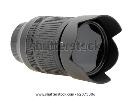 Fast black lens with hood and filter - stock photo