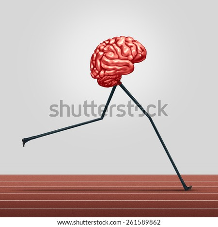 Fast brain and memory training concept as a human thinking organ with legs running on a track as a health care symbol for neurological fitness and cerebral wellbeing. - stock photo