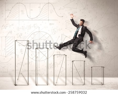 Fast business man jumping up on hand drawn charts concept - stock photo