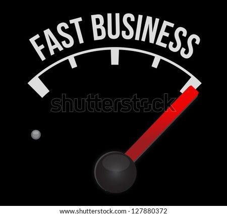 fast business Speedometer scoring high speed illustration design over white - stock photo