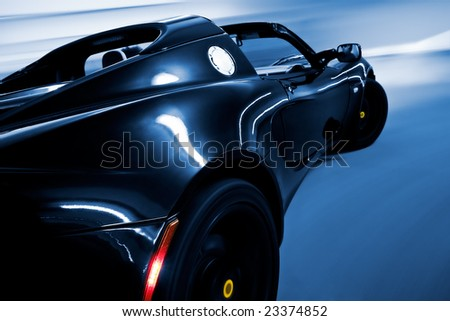 Fast Car Driving Point of View Angle - stock photo