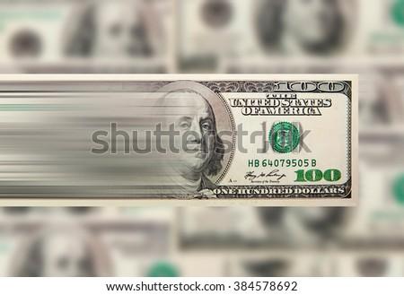 Fast cash express money, Macro shot of a hundred dollar - stock photo