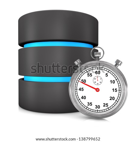 Fast database with stopwatch on the white background. - stock photo