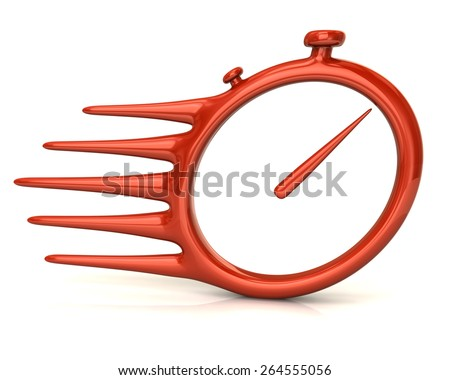 Fast delivery icon. Orange stopwatch. - stock photo