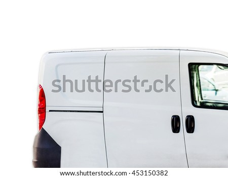 Fast delivery, van on city street isolated on white - stock photo