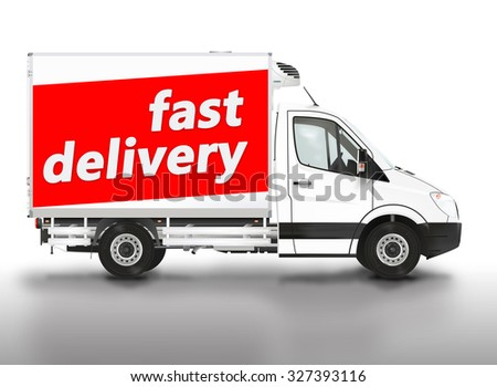 Fast delivery. Van on the white background. Raster illustration. - stock photo