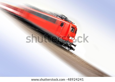 Fast Electric train on railway - stock photo