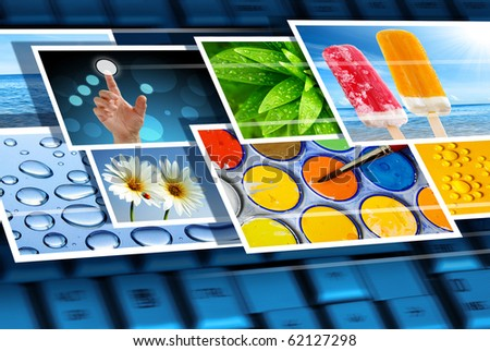Fast flow of digital photos over the keyboard of a laptop - stock photo