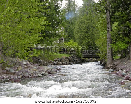 Fast flowing river in the Rocky Mountains
