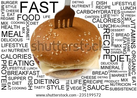 Fast Food and health concept info with burger and fork - stock photo