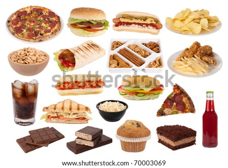 Fast food and snacks collection - stock photo