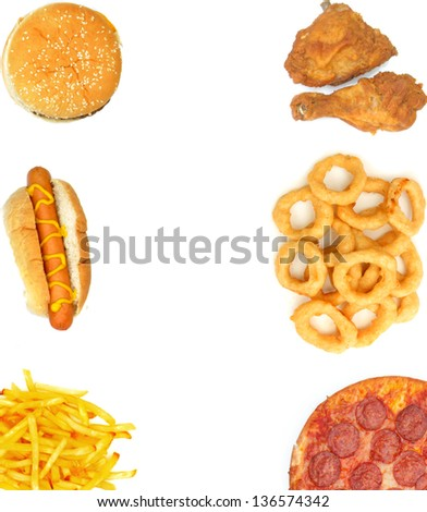Fast food background frame - stock photo