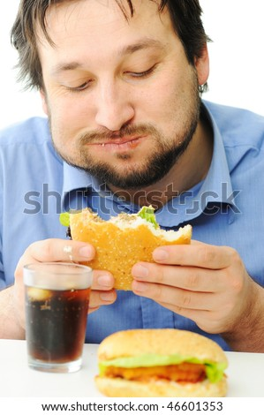 Fast food, burger and coke, full mouth - stock photo