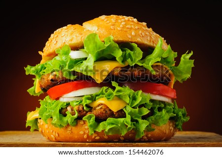 fast food closeup with traditional tasty hamburger - stock photo