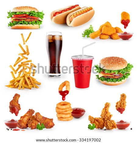 Fast food collection on white background. - stock photo