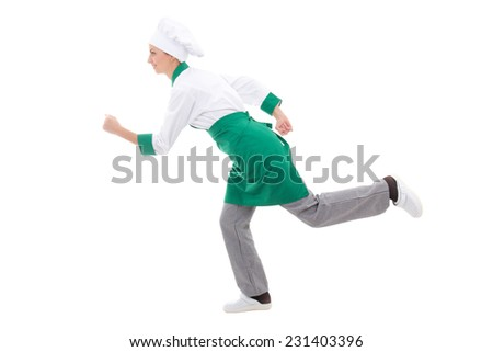 fast food concept - happy woman in chef uniform running isolated on white background - stock photo