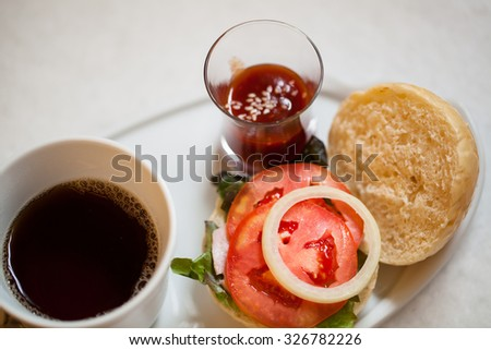Fast food concept. Tasty  burger sandwich - stock photo