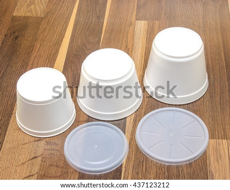 fast food container container for hot food with a lid - stock photo