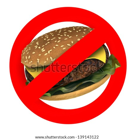 fast food danger concepts, hamburger sign, stop fast food, 3d illustration - stock photo