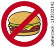 fast food danger label (hamburger, no fastfood sign, stop fast food) - stock vector