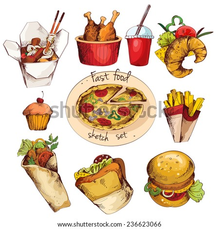 Fast food decorative colored sketch icons set of cupcake drink croissant isolated  illustration