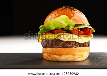 Fast food especially the beef burger is probably the best known fast food of America - stock photo