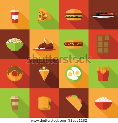 Fast food flat icons set with burger chicken chocolate noodles isolated  illustration - stock photo