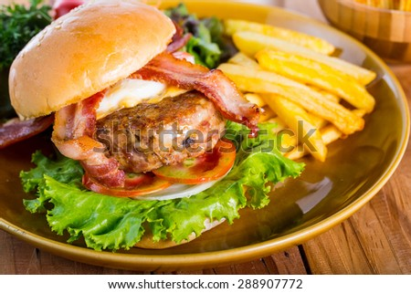 Fast food ,hamburger cheese for your lunch - stock photo
