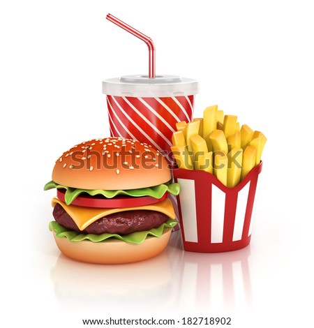 fast food hamburger, fries and soft drink 3d illustration - stock photo