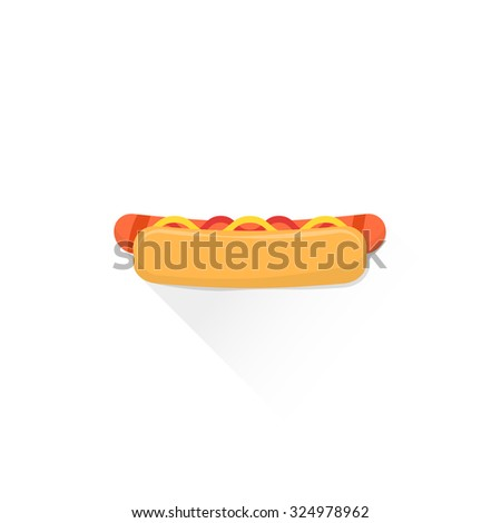 fast food hot dog with grilled sausage mustard tomato ketchup flat design isolated illustration on white background with shadow   - stock photo