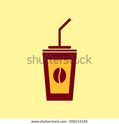 Fast food icon. Coffee pictogram. - stock photo