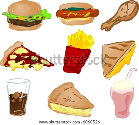 Fast food icons, hand-drawn look: hamburger, hotdog, fried chicken, pizza, fries, grilled cheese sandwich, coke, pie, shake - stock photo