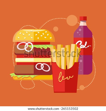 Fast food icons of french fries hamburger soda drink in flat design on stylish banner background. Raster version - stock photo