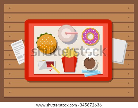 Fast food, illustration in a flat style. The tray with hot-dog, fries, soda, donut and coffee on wooden table - stock photo