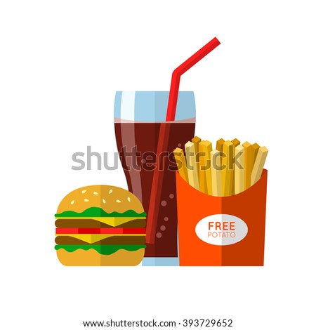 Fast food lunch with french fries, hamburger and drink in a glass with a straw. Illustration in flat design