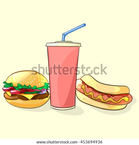 Fast food meal in cartoon style. Beverage cup with burger and hot dog. Illustration