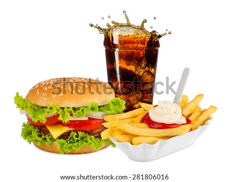 Fast food meal on white background - stock photo