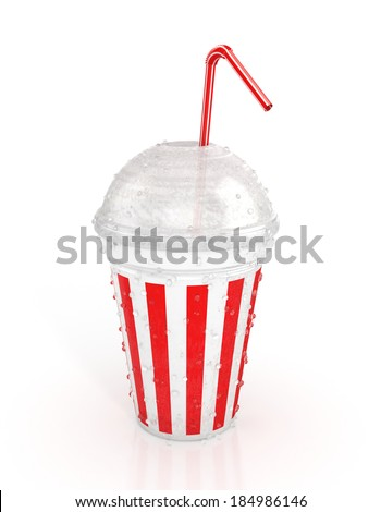 fast food paper cup with red tube. 3d illustration isolated on white background - stock photo