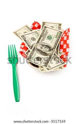 fast food paper tray and dollars, concept of success