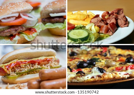 fast food picture collection - stock photo