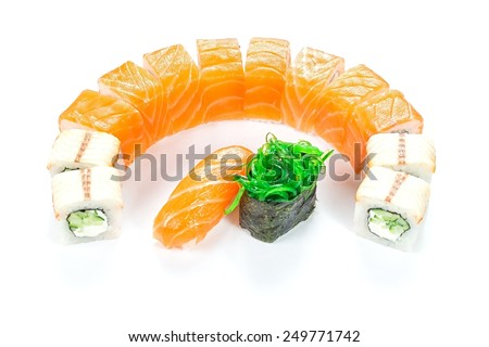 Fast food - rolls on a white background - stock photo