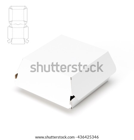 Fast Food Sandwich Burger Box with Die Line Template 3D Rendering