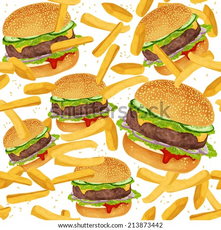 Fast food seamless pattern with hamburger and French fries  illustration - stock photo